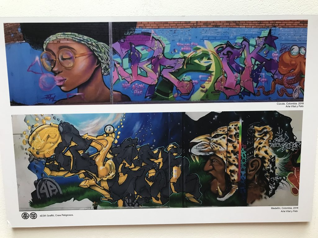 two photos of street art, one a woman in a headband and glasses, below it a snarling panther