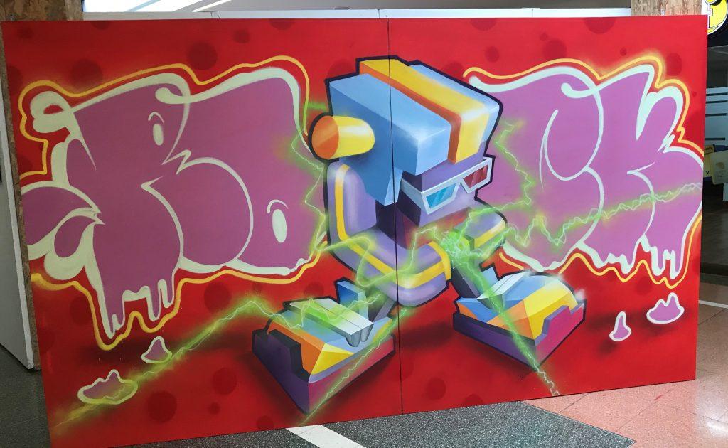 bright colors graffiti wall